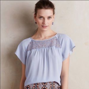 Anthropologie Maeve Lace Trace Light Blue Top